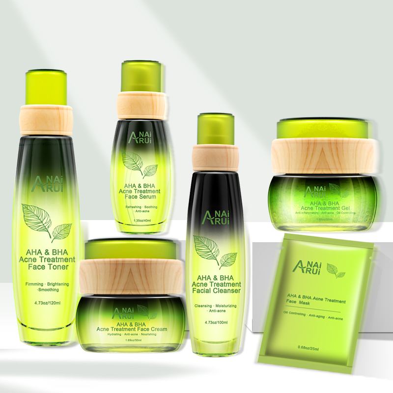 Private label Natural organic AHA & BHA Acne Treatment face skin care set