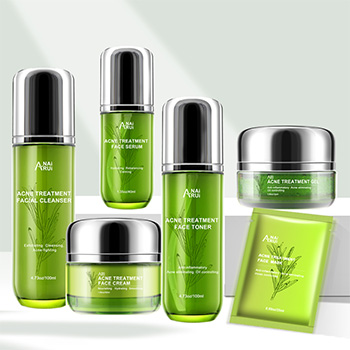 Private Llabel Natural Plants Acne Treatment Skin Care Set whitening Nourishing Hydrating Oil Control